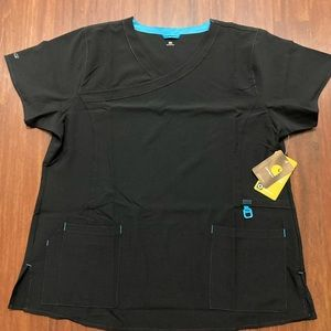 NWT Carhartt ladies black scrub top 2XL